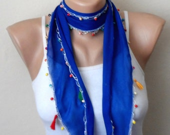 royal blue scarf  beads cotton scarf yemeni scarf trendy scarf fashion accessories birthday gift for her