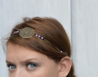 "headband retro vintage ""Pepa"" composed of the iridescence Czech glass beads"