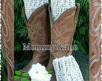 Crochet boot cuffs, Mommy and Me set in Oat,  Packaged for gift giving :)