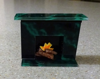 Miniature dollhouse fireplace marble look with fake logs