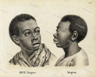 1830 Original Antique Engraving of Huam Race Black and white