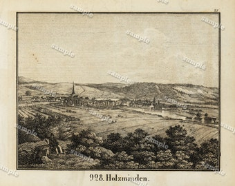1830 Original Antique Engraving of View of The Holzminden  Black and white- architecture- landscape view