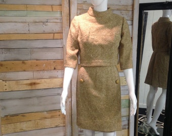 wonderfully elegant hand made 1950's pure wool Mad Men style 2 piece XS