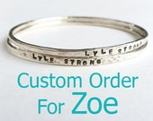 Wedding Bridesmaid Gifts -  Sterling Silver Bangles with Hand Stamped Lettering