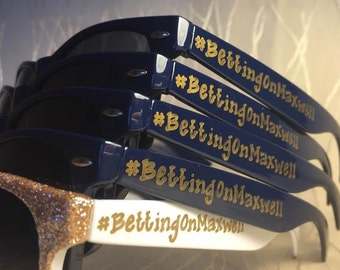Navy and Gold personalized Sunglasses for your bachelorette party/last night out/girls trip/beach trip/cruise getaway