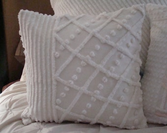 "One Cream Chenille Pillow Cover for 18"" pillow insert"