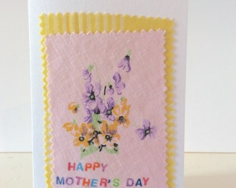 Happy Mothers Day, vintage fabric handmade card, vintage fabric, Mothers Day card, pink and yellow card, Mothering Sunday, purple violets