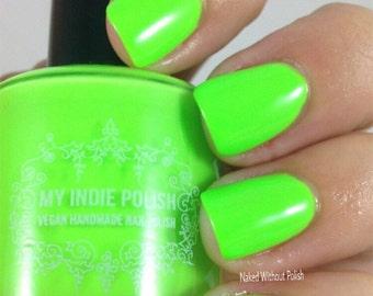 neon lime nail polish  handmade  7ml