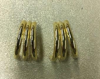 Vintage gold tube hoop earrings