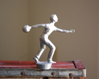 Vintage Metal Bowling Trophy Topper