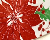 Letterpress Holiday Card - Single Card or Set of 6 - Hand Drawn Poinsettia - Ready to Ship