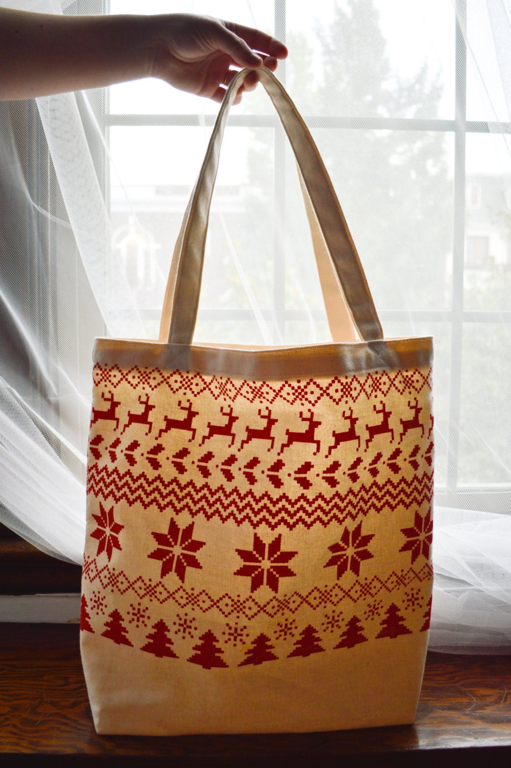 Christmas canvas tote bag ugly sweater by