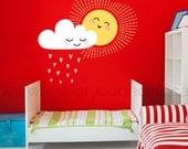 Cloud and Sun Wall Decal - Nursery wall decal - Sun Wall Decal, Heart girls room wall deca, playroom wall decals - Cloud wall decals 03-0005