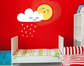 Sun Wall Decal Etsy - Nursery wall decals clouds