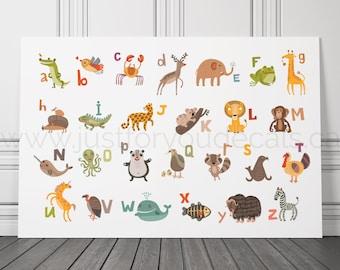 Animal Alphabet Poster, Nursery Wall Art, Playroom Poster, Alphabet Wall Art, Alphabet Nursery Art, Alphabet Nursery - Nursery Art - 22-0044