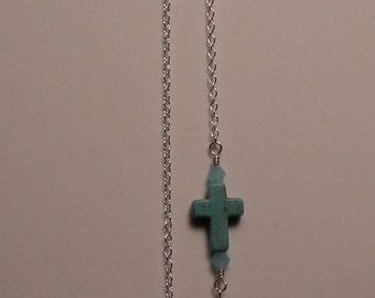 Howlite sideway Cross and Swarovski Crystal Necklace