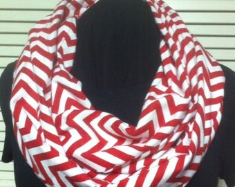 Christmas Red and White Chevron Cotton Infinity Scarf
