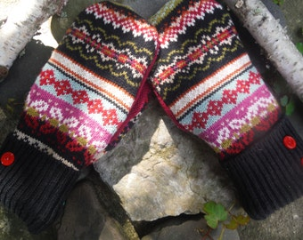 Cozy Sweater Mitten, red, black, white and pink fair isle design mittens made from recycled sweaters, fleece lined