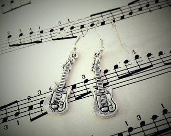 Guitar earrings - silver guitar charms - bass - musician, music, guitarist, gig jewellery