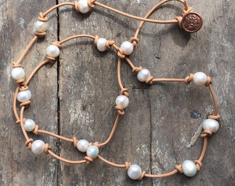 Pearls,Handknotted Leather