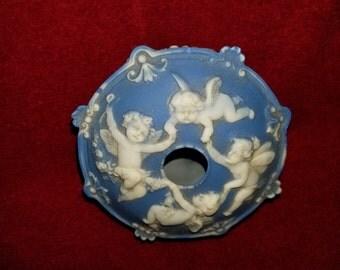 Vintage Wedgewood Jasperware Blue Schafer Vater Hair Receiver Trinket Box