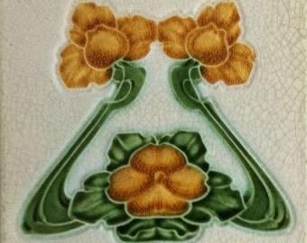 Art Nouveau decorative Ceramic tile 6 X 6 Inches 179