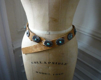 Vintage Native American Sterling Silver Turquoise Concha Belt