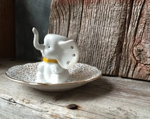 Elephant Ring and Jewelry Holder Assemblage: Vintage White Elephant Figurine With Queen Anne Bone China Saucer, Catch All