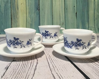 Three Arcopal Cups and Saucers . Blue Floral Design Coffee Mugs . Milk Glass French Cups . Vintage Coffee Cups .