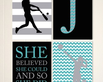 Inspirational sports art, volleyball girl wall art, softball wall art, teen girl wall art, set of 4, choose your colors and sports