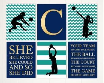 Girl Volleyball Player, Volleyball Room Decor, Inspirational Girls Art,  Volleyball Wall Art,