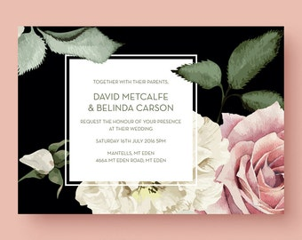 Large floral blooms - wedding invitation