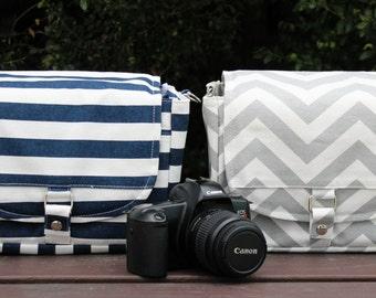 Camera Bag with Divider for extra lens ~ 4 styles ~ Navy Stripes, Anchors, Navy Chevron, Gray Chevron