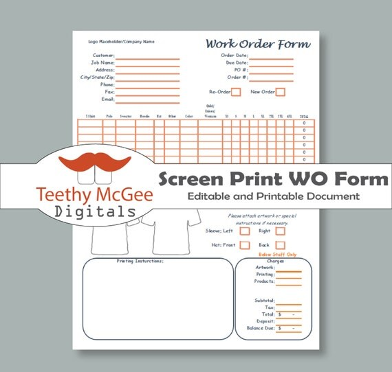 embroidery order form template free - editable work order form for screen printing instant
