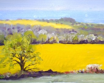 Campagne bretonne oil on canvas paper inches original Brittany art french countryside original french landscape french art french decor home