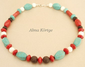 Chain necklace coral turquoise lava white coral
