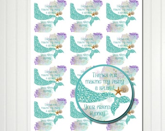 Mermaid Stickers, Under the Sea, Sticker, Tag,  Thank You Tags, Favor Tags,  Mermaid Birthday, Mermaid Party, Party Favor, Baby Shower 2.5