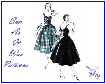 "1950s Unused FF Vogue 8476 Flared Skirt Dress Sleeveless Back Ribbon Bow Gathered Hostess Apron Vintage Sewing Pattern Size 14 Bust 32"" 83cm"