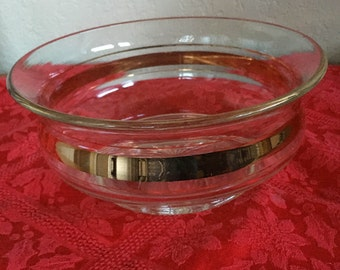 Vintage Glass & Gold Serving Bowl