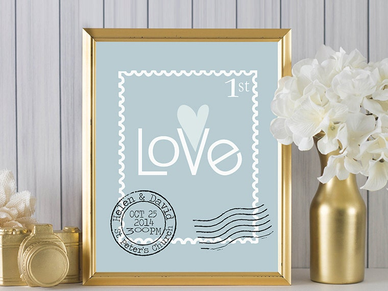 Personalised Wedding Gift Art : Personalised wedding gift art 1st by PinkMilkshakeDesigns on Etsy
