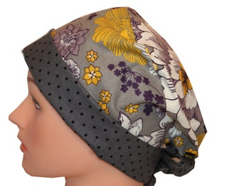 Scrub Hat Surgical Scrub Cap Chemo Hat Tie Flirty Front Fold Pixie Style Grey Yellow Purple Floral Dots 2nd Item Ships FREE