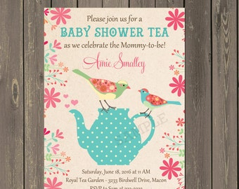 Baby Shower Tea Invitation, Bird Baby Shower Invitation in Pink Teal and Yellow, Folk Bird Baby Shower Invite, Printable or Printed