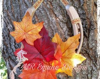 SALE - Fall, Leaves, Metallic Horseshoe Wall Decor
