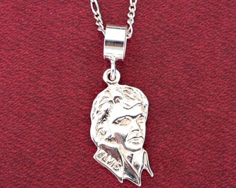 Elvis Presley Pendant ~ Solid 925 Sterling Silver Pendant & Necklace