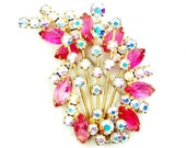 Juliana Pink Brooch, Shooting Star Abstract,  AB, Glass Crystal Rhinestones, Round, Marquise, Vintage, Gold Tone Spikes, D & E
