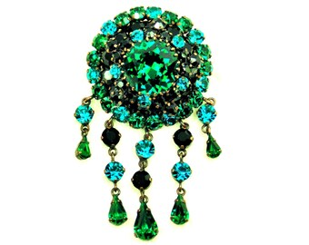 Vintage Schreiner Aqua Green Black Rhinestone Brooch with Dangles, Copper Tone