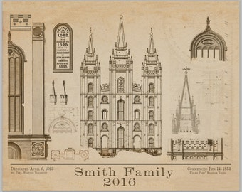 Custom Salt Lake Temple Blue Prints Poster