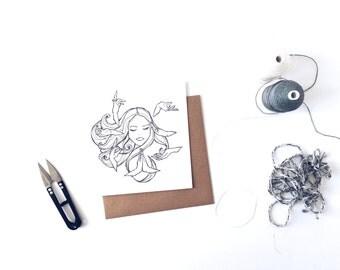 Goddess - monochrome woman illustrated square greeting card