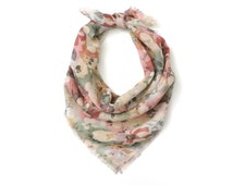 Square Scarf Sheer Floral Cotton