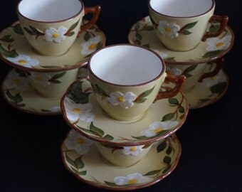 Vintage, Set of Six Stangl White Dogwood Teacup Sets